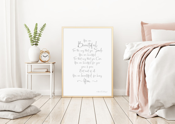 You are Beautiful for Being You Wall Art Print