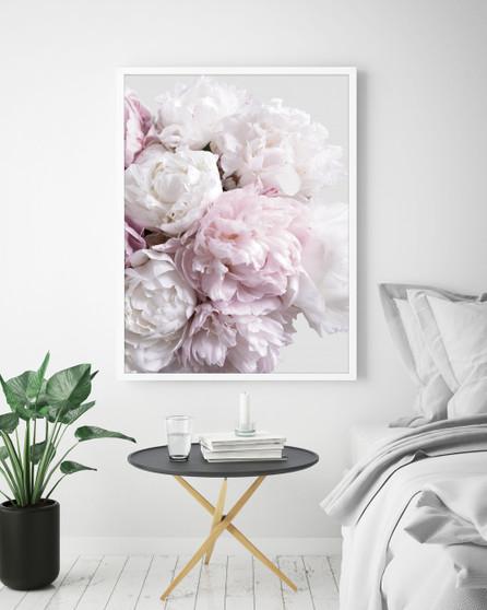 Peony Blush Print with optional white timber frame