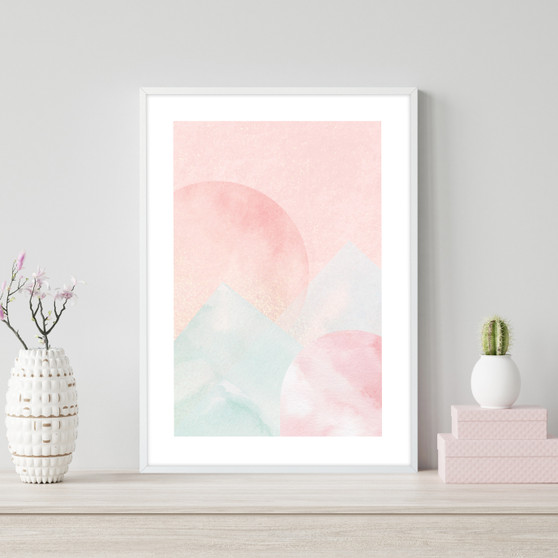 Blush Mountain Sunset - Abstract Watercolour Wall Art Print in optional Australian-made white timber frame