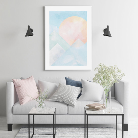 Blue Mountain Sunrise - Abstract Watercolour Wall Art Print in optional solid white timber frame