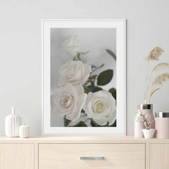 Enchanted Rose Photographic Wall Art Print with optional white timber frame