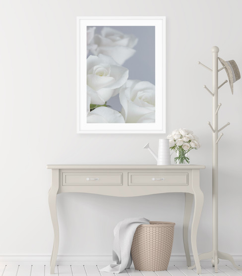 Eternal Love Rose Photographic Wall Art Print with optional white timber frame