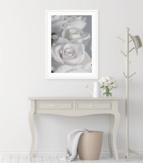 Rose d'Amour Photographic Wall Art Print with optional white solid timber frame