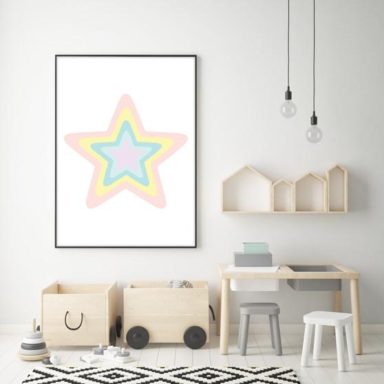 Pink Rainbow Pastel Star - Instant Digital Downloadable Print