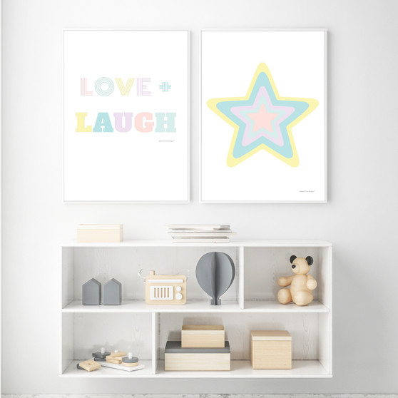 Rainbow Star (Pastel Yellow) - Instant Digital Downloadable Print, shown with Love and Laugh Instant Digital Downloadable Print