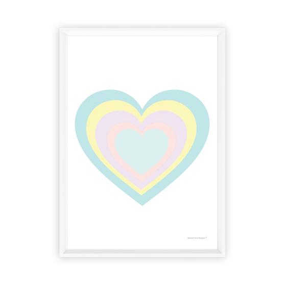 Rainbow Heart (Pastel Blue) - Instant Digital Downloadable Print