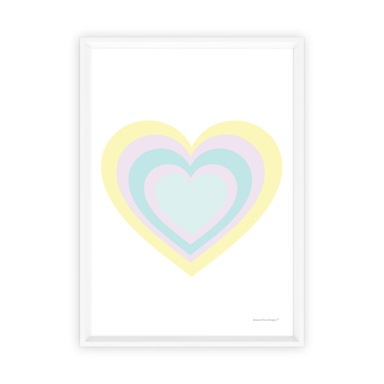 Rainbow Heart (Pastel Yellow) - Instant Digital Downloadable Print