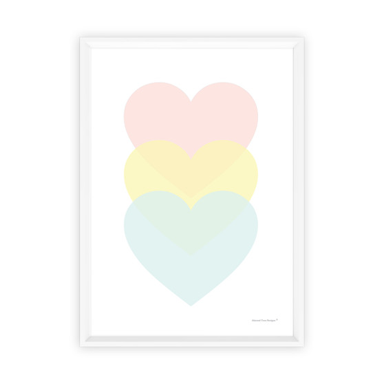 Love Love Love Pastel Hearts - Instant Digital Download Print