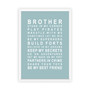 Brothers Print in Duck Egg, with optional Australian made white timber frame