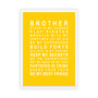 Brothers Print in Yellow, with optional Australian made white timber frame