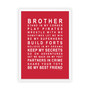 Brothers Print in Red, with optional Australian made white timber frame