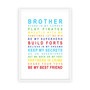Brothers Print in Rainbow, with optional Australian made white timber frame