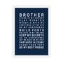 Brothers Print in Navy, with optional Australian made white timber frame