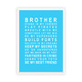 Brothers Print in Sky Blue, with optional Australian made white timber frame