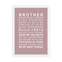 Brothers Print in Dusky Pink, with optional Australian made white timber frame