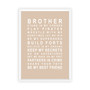Brothers Print in Latte, with optional Australian made white timber frame