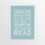 Expressions of Your World - Read Print in Duck Egg Blue, with optional Australian-made white timber frame