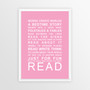 Expressions of Your World - Read Print in Pink, with optional Australian-made white timber frame