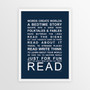 Expressions of Your World - Read Print in Navy, with optional Australian-made white timber frame