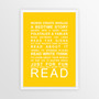 Expressions of Your World - Read Print in Yellow, with optional Australian-made white timber frame