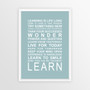 Expressions of your World - Learn Print in Duck Egg Blue, with optional Australian-made white timber frame