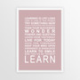Expressions of your World - Learn Print in Dusky Pink, with optional Australian-made white timber frame