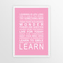Expressions of your World - Learn Print in Pink, with optional Australian-made white timber frame
