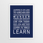 Expressions of your World - Learn Print in Navy, with optional Australian-made white timber frame