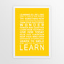 Expressions of your World - Learn Print in Yellow, with optional Australian-made white timber frame