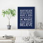 Expressions - Believe Print in Navy, with optional Australian-made white timber frame