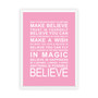 Expressions - Believe Print in Pink, with optional Australian-made white timber frame