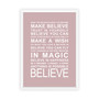 Expressions - Believe Print in Dusky Pink, with optional Australian-made white timber frame
