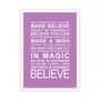 Expressions - Believe Print in Purple, with optional Australian-made white timber frame
