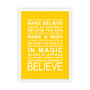 Expressions - Believe Print in Yellow, with optional Australian-made white timber frame
