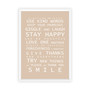 Family Rules print in Latte, with optional deep rebate white timber frame.