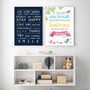 Family Rules print in Navy, with optional deep rebate white timber frame, with Roald Dahl You Will Always Look Lovely Print