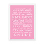 Family Rules print in Pink, with optional deep rebate white timber frame.