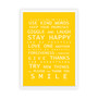 Family Rules print in Yellow, with optional deep rebate white timber frame.