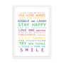 Family Rules print in Rainbow, with optional deep rebate white timber frame.