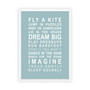 Dreams for your Girl Print in Duck Egg, with optional Australian-made white timber frame