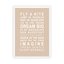 Dreams for your Girl Print in Latte, with optional Australian-made white timber frame