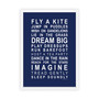 Dreams for your Girl Print in Navy, with optional Australian-made white timber frame