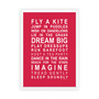 Dreams for your Girl Print in Red, with optional Australian-made white timber frame