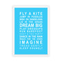 Dreams for your Girl Print in Sky Blue, with optional Australian-made white timber frame
