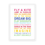 Dreams for your Girl Print in Rainbow, with optional Australian-made white timber frame