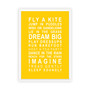 Dreams for your Girl Print in Yellow, with optional Australian-made white timber frame