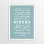 I Believe in Miracles Print in Duck Egg Blue, with optional Australian-made white timber frame