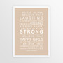 I Believe in Miracles Print in Latte, with optional Australian-made white timber frame