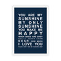 You are My Sunshine Print in Navy, with optional Australian-made white timber frame.