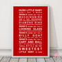Hush Little Baby Print in Red, with optional Australian-made white timber frame